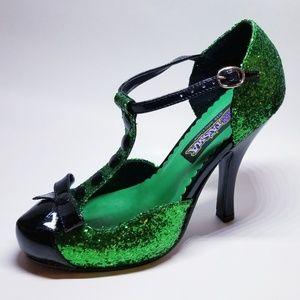 NWOT Green Glitter T-strap Heels